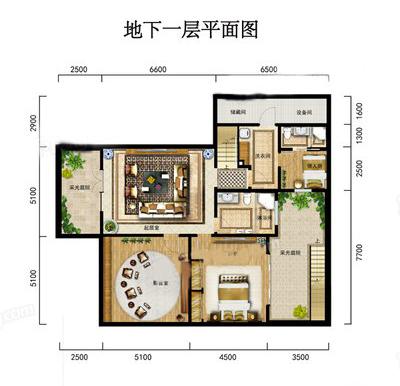 V2-1别墅户型 4室3厅4卫1厨 建筑面积:201.58㎡