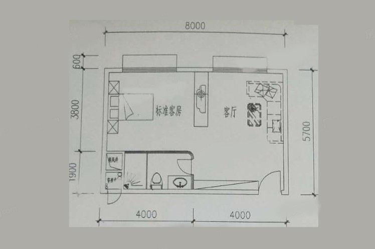 E户型 1室1厅1卫1厨 建筑面积:44.83㎡