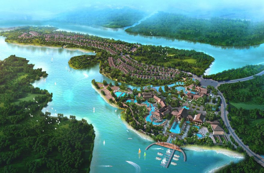 观南丽湖风景,定安中铁诺德丽湖半岛340万元/套起