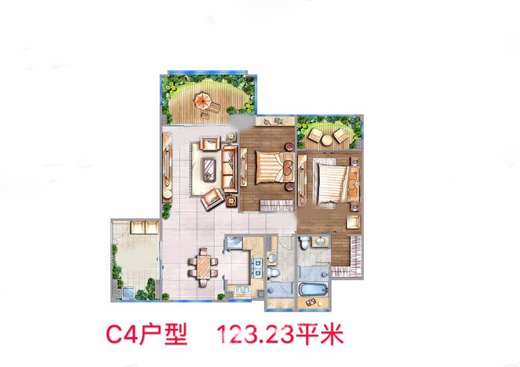 C4户型 2室2厅2卫1厨 建筑面积:123.23㎡