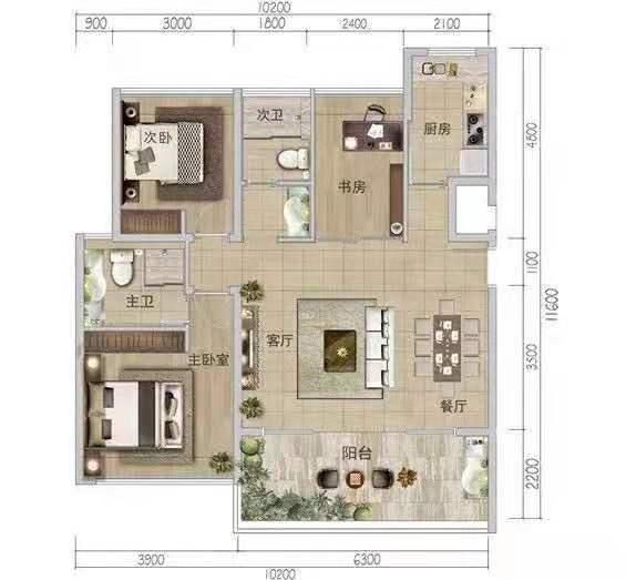 3室2厅2卫1厨 建筑面积:107.00㎡