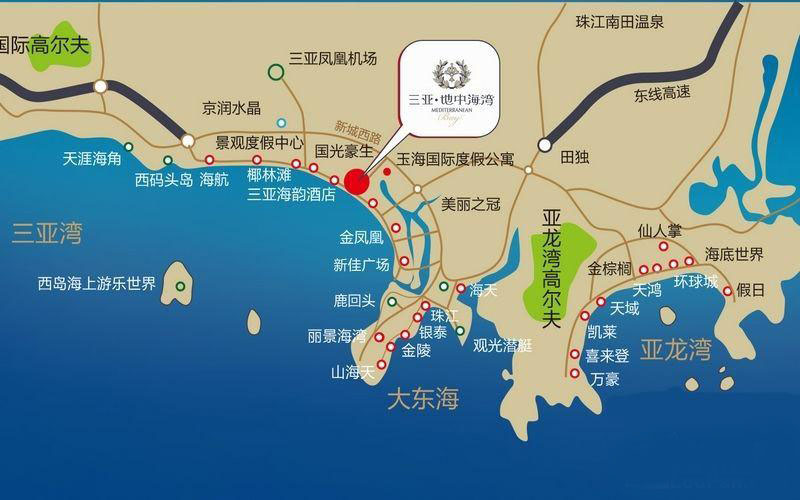 三亚地中海湾交通图