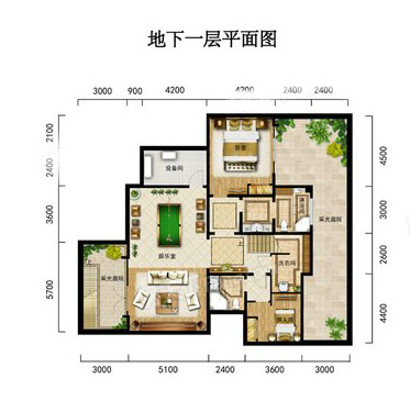 V2-2别墅户型 4室3厅4卫1厨 建筑面积:206.62㎡