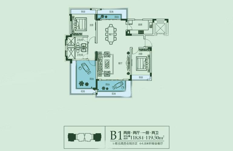 B1戶型 2室2廳2衛1廚 建筑面積:119.50㎡