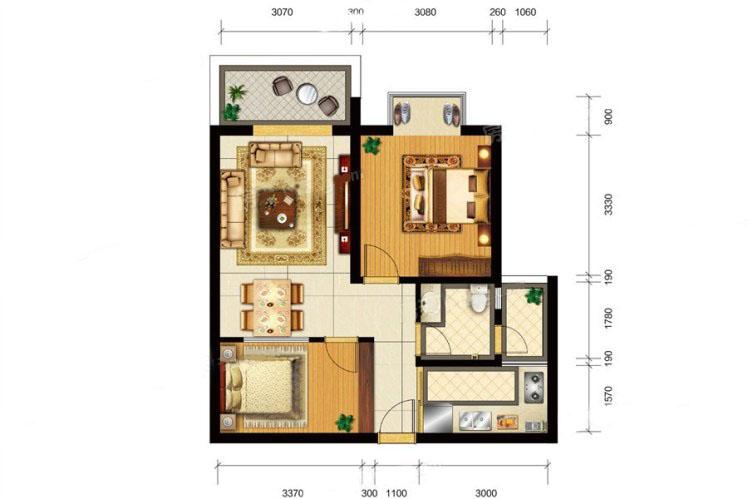 C6户型 1室2厅1卫1厨 建面69.34㎡
