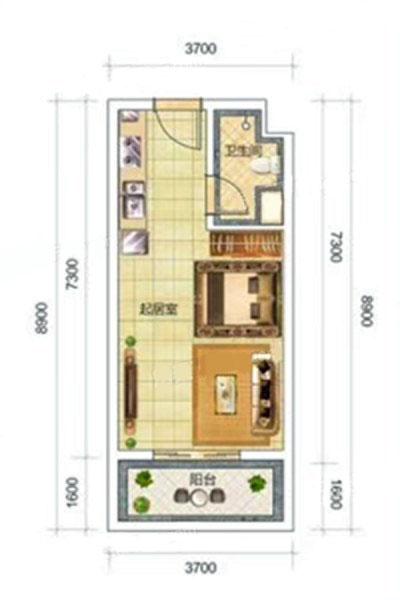 C7户型 1室1厅1卫1厨 建面37.70㎡