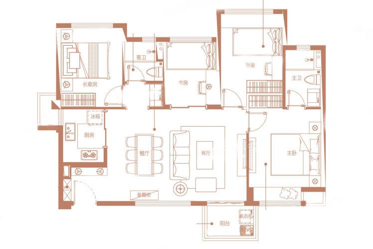 TA-1户型 4室2厅2卫1厨 建筑面积:88.00㎡