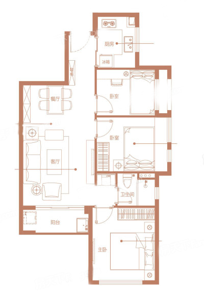 TB-1户型 3室2厅1卫1厨 建筑面积:69.00㎡