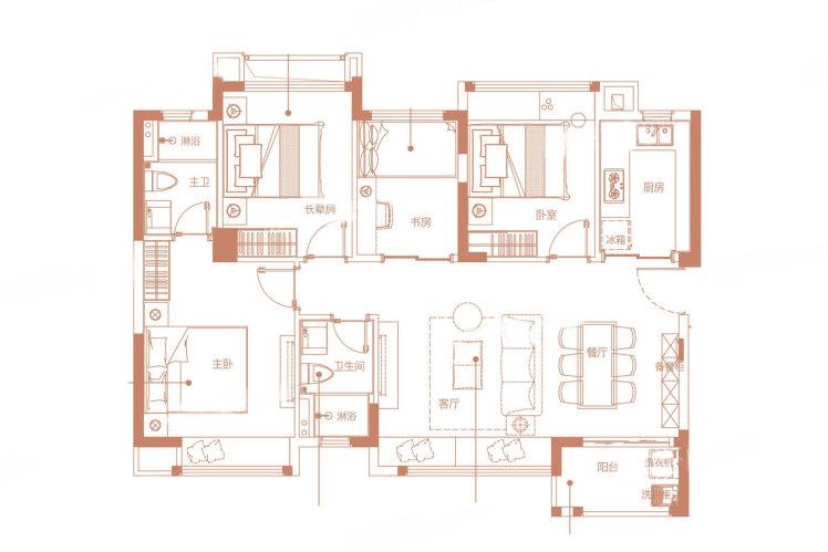 C1户型 4室2厅2卫1厨 建筑面积:90.00㎡