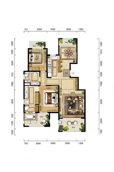 A2-1洋房户型 2室2厅2卫1厨 建筑面积:115.00㎡