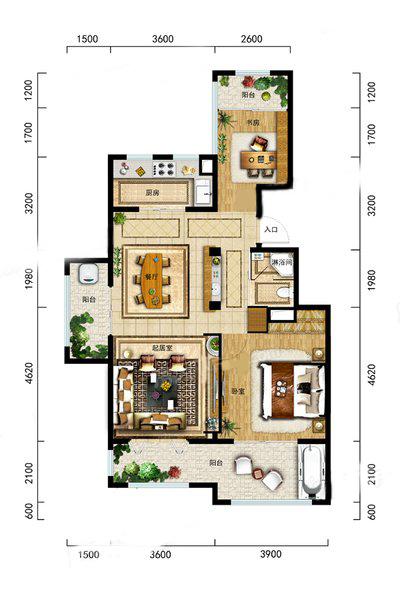 A2洋房户型 2室2厅1卫1厨 建筑面积:85.00㎡