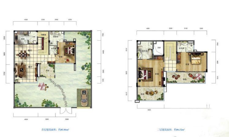 A1户型 3房2厅4卫 建面172.38㎡