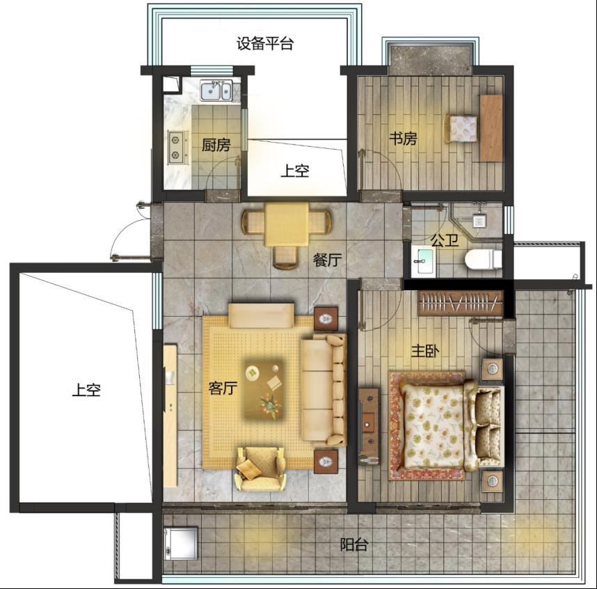 A户型 2室2厅1卫1厨 建面103㎡