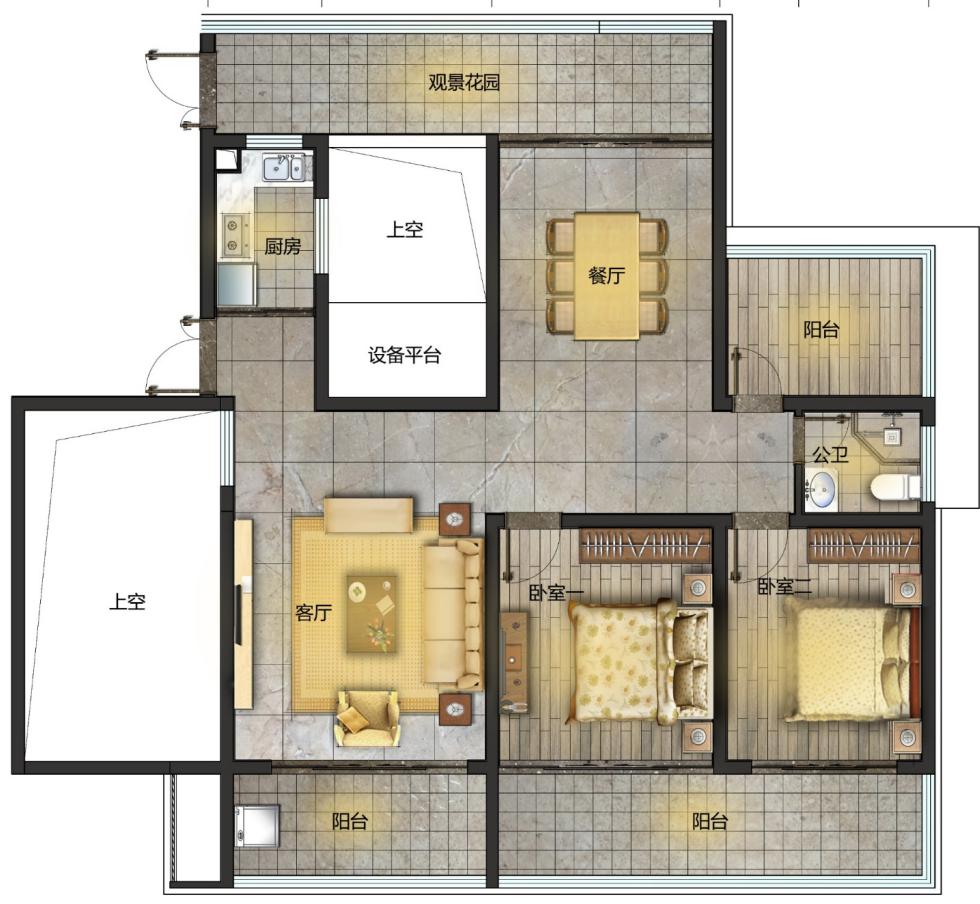 C户型 2室2厅1卫1厨 建面141㎡