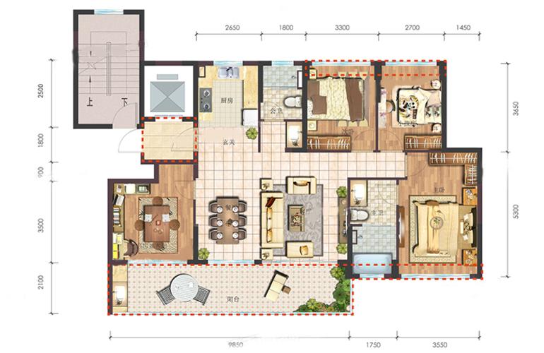 B3户型 4室2厅2卫1厨 建筑面积:137.00㎡