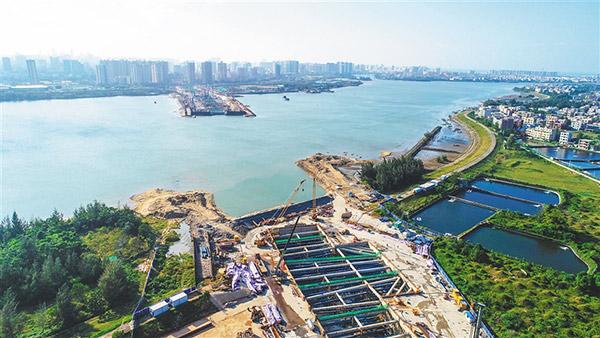 海口文明东越江通道总工程量完成近半