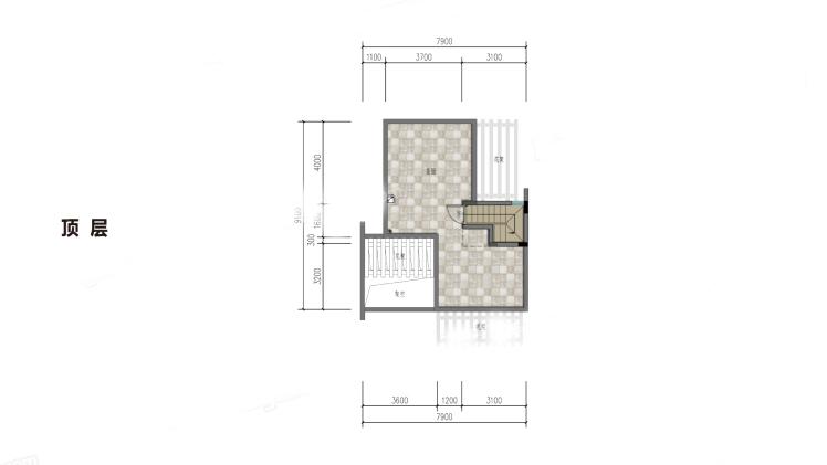 雙拼別墅(頂層) 3室2廳2衛1廚 建筑面積:102.00㎡