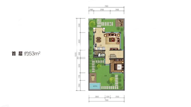 雙拼別墅(首層)3室2廳2衛1廚 建筑面積:102.00㎡