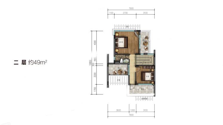 雙拼別墅(二層)3室2廳2衛1廚 建筑面積:102.00㎡
