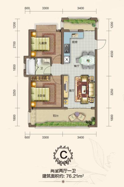 C戶型 2室2廳1衛1廚 建筑面積:76.21㎡