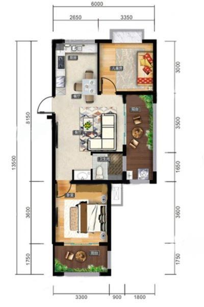 F戶型 2室2廳1衛1廚 建筑面積:76.30㎡