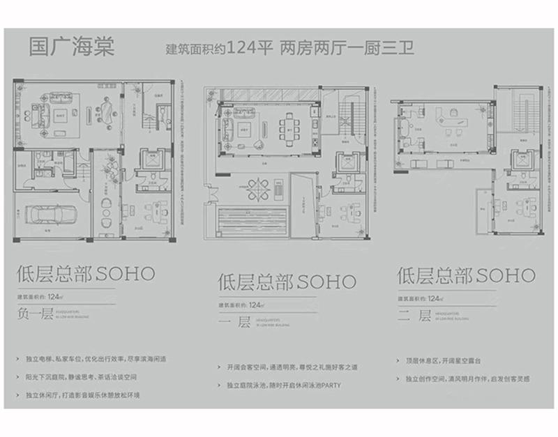 低层总部SOHO 2房2厅3卫 建面124㎡