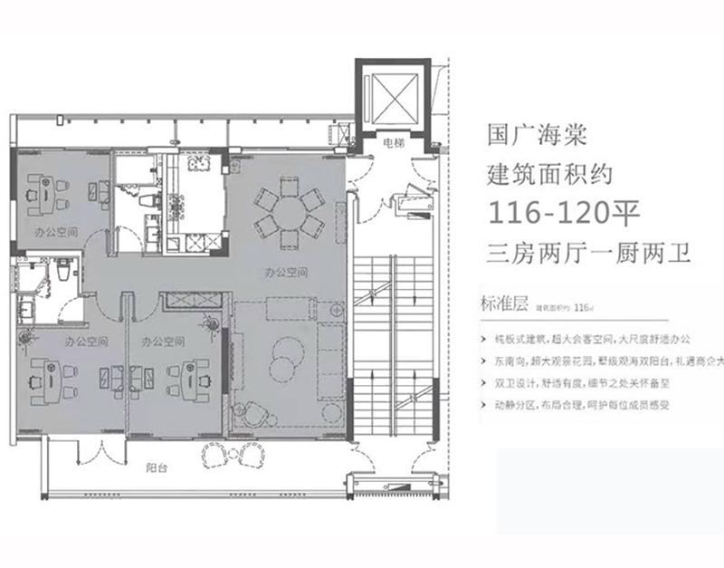 标准层 3房2厅2卫 建面116-120㎡