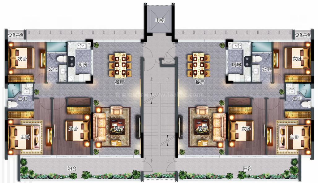 多层办公户型 3房2厅2卫 建面118㎡