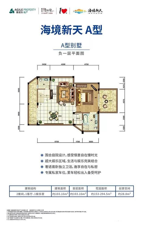 海镜新天别墅A户型  建面103.16㎡ 负一层平面图