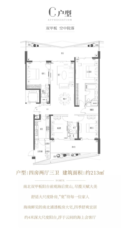 C户型 4房2厅3卫 建面213㎡