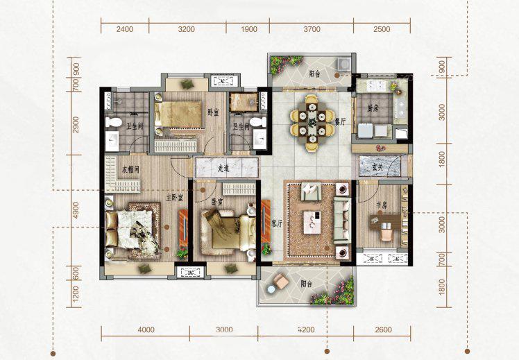 D户型 4室2厅2卫1厨 建筑面积:138.00㎡