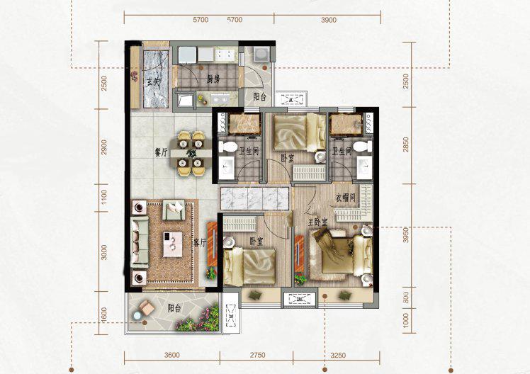 A户型 3室2厅2卫1厨 建筑面积:98.00㎡