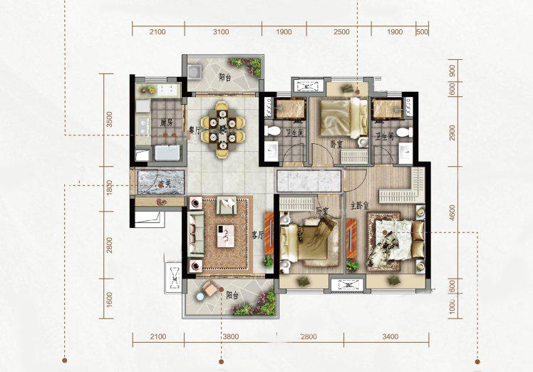 B户型 3室2厅2卫1厨 建筑面积:110.00㎡