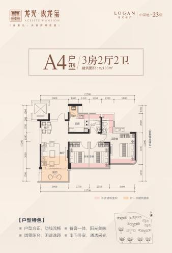 A4户型 3房2厅 建面:103㎡