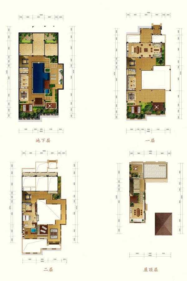 E1户型 3室2厅2卫 建面241.32㎡