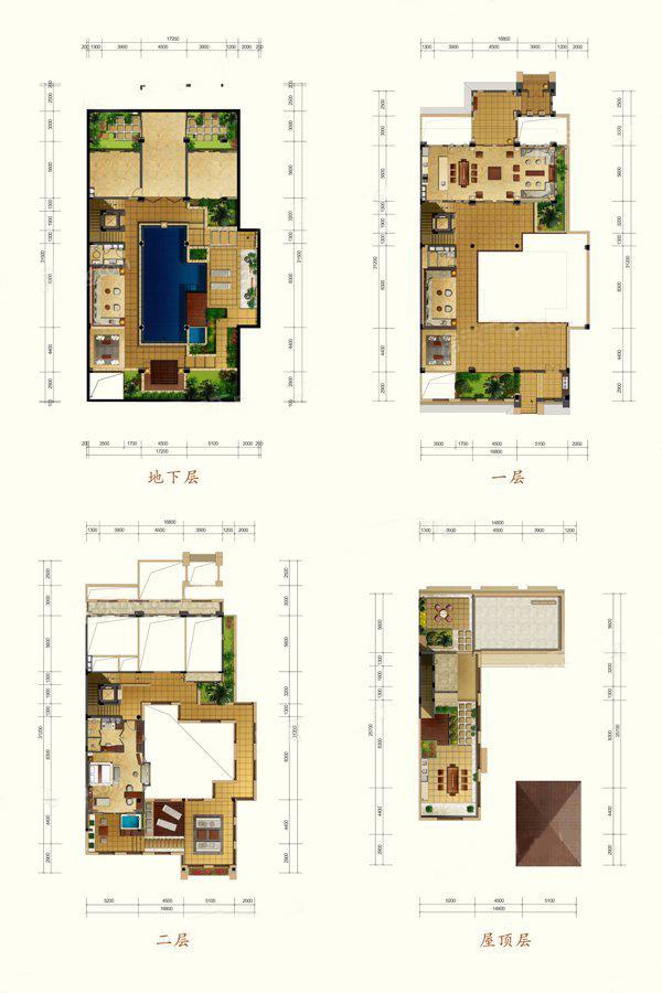 E2户型 3室2厅2卫 建面241.35㎡
