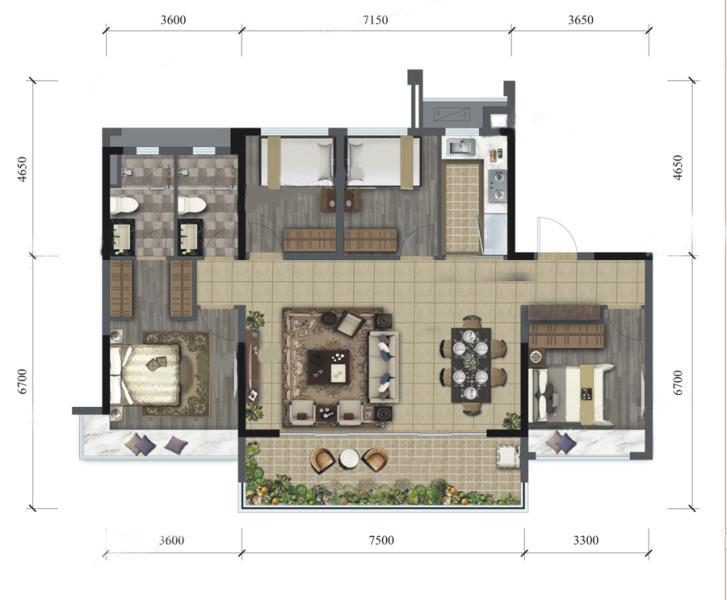 C2户型 4房2厅 建面:130㎡
