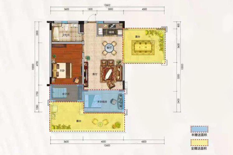 洋房C户型 1室2厅1卫 建面74.31㎡