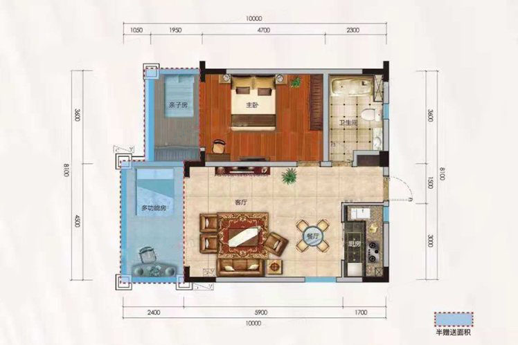 洋房E户型 1室2厅1卫 建面74.31㎡
