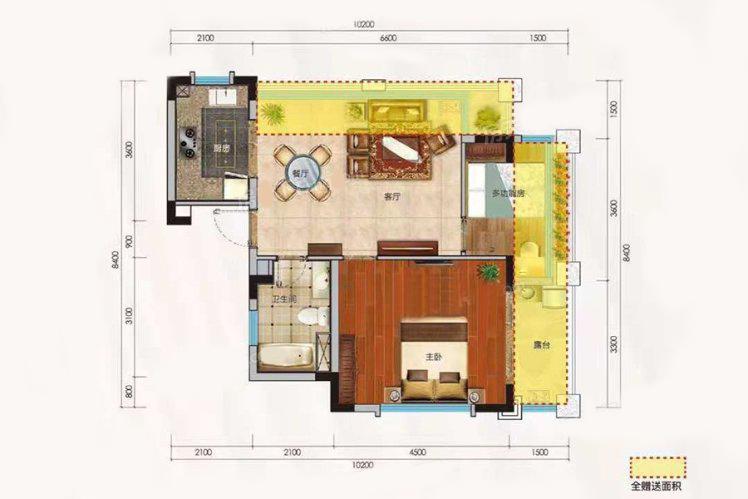 洋房H户型 1室2厅1卫 建面64.89㎡