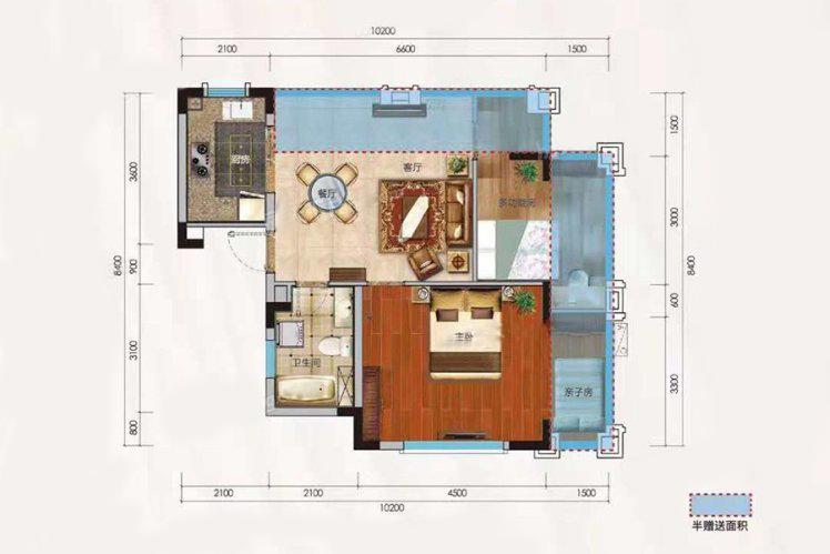 洋房F户型 1室2厅1卫 建面66.09㎡