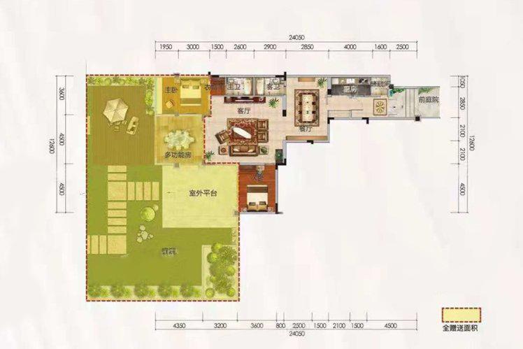 洋房A户型 2室2厅2卫 建面122.59㎡
