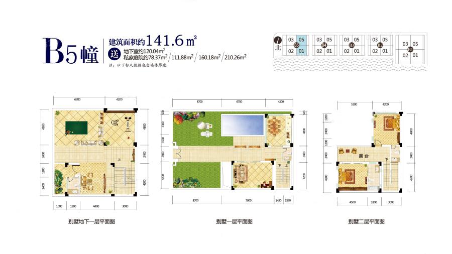 B5幢户型 3室3厅4卫 建面141.6㎡