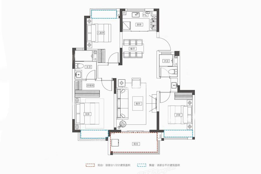 D-1户型 3室2厅2卫 建面101㎡