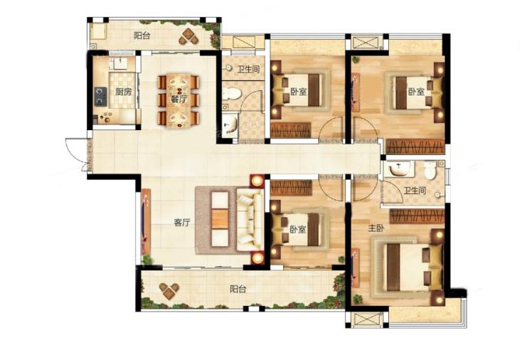 12栋K户型 4房2厅 建面:140.06㎡