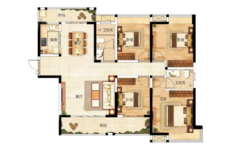 12栋L户型 4房2厅 建面:138.28㎡