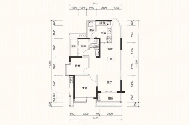 A1户型 2房2厅 建面:90㎡