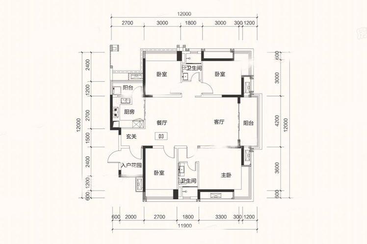 D3户型 4房2厅 建面:140㎡
