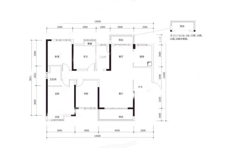 E1户型 4房2厅 建面:144㎡