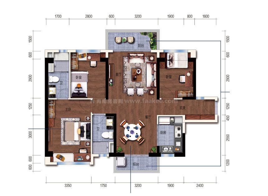 维港湾F户型 3室2厅 建面:110m²
